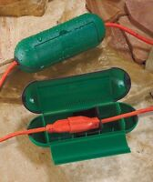 Set Of 2 Green Extension Cord Safety Seal Cases Protect From Rain Snow Holidays