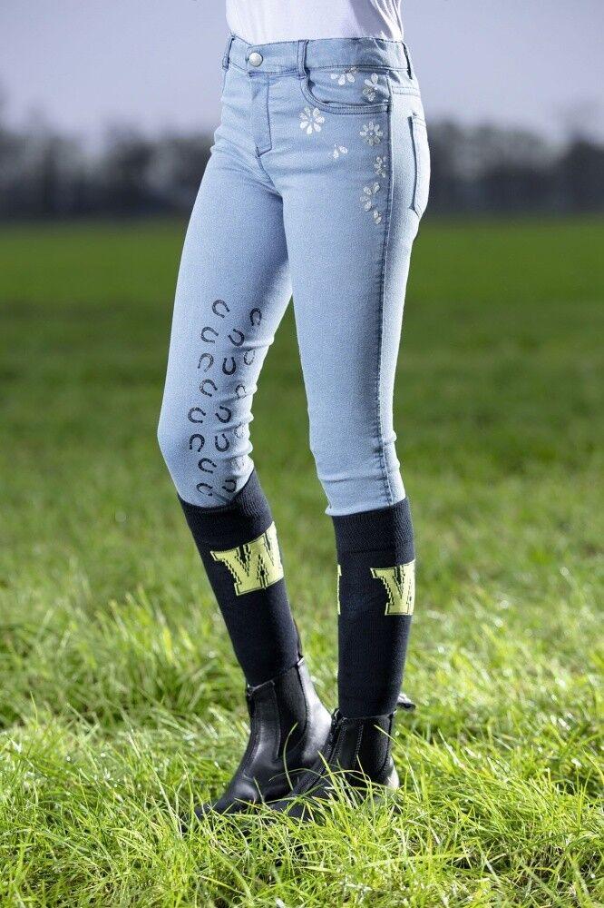 Kinder Reithose Wendy Silikon Kniebesatz Denim HKM jeansblue NEU
