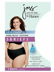 9-14 White//Assorted 5-Pack Just My Size Cotton Plus Size Brief Panties