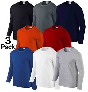 3-Pack-Gildan-MEN-039-S-LONG-SLEEVE-T-SHIRT-SOFT-COTTON-PLAIN-TOP-SLEEVES-CASUAL