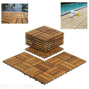 Image Is Loading Wooden Floor Tiles Interlocking Solid Teak Wood Outdoor