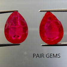 21.80 ct Lab Created Pigeon Blood Red Ruby Chathum Pear Loose Gem Pair