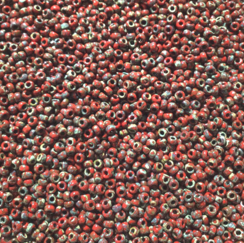 11//0 Japanese seed beads Opaque Picasso Dark Red-15grams