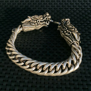 China-Old-national-style-Tibet-Silver-Carve-Pair-dragon-head-Adjust-Bracelet