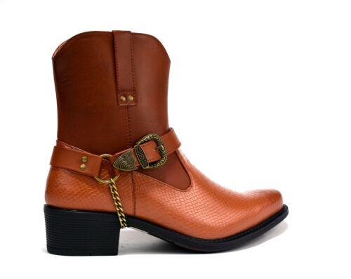 New Cuban Heel Side Buckle Pull On Western Look Fashion Ankle Men Boot UK Size