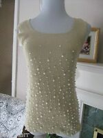 Once Again Gold Metallic Shiny Faux Pearl Tank Cami Sweater Top M