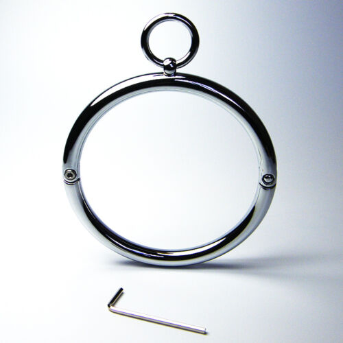Metal Locking Slave Round Collars Lockable Neck Ring Roleplay Female Costume
