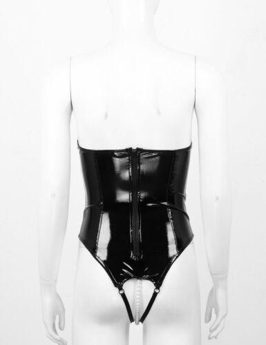 Women's Wet Look Zipper Open Bust Crotch Bodysuit Leotard Lingerie Catsuit Club