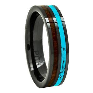 Men S Women S Wedding Rings Black Ceramic Band Koa Wood And