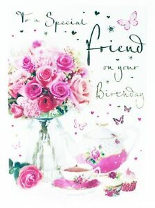 Details about Happy Birthday Greeting Card & Envelope Seal For Special  Friend Ladies Roses Her