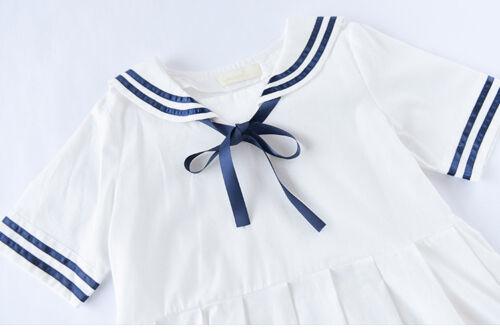 Women Girls Lolita Bowknot Mini Dress Short Sleeve Casual Sailor Dresses Skirt