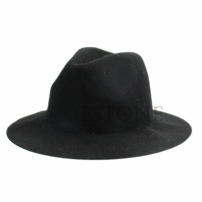 Ladies Women Vintage Wide Brim Wool Felt Hat Floppy Bowler Fedora Cap