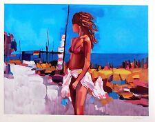 Nicola Simbari St. Tropez France Hand S/N Serigraph Mediterranean female boating