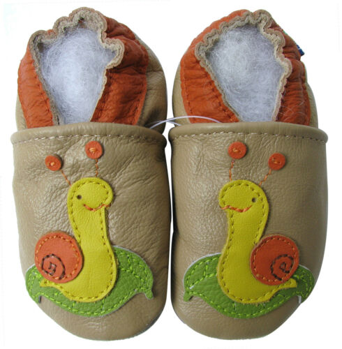 carozoo snail tan 18-24m soft sole leather baby shoes