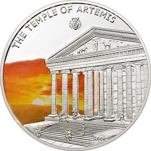 Palau 2009 5$ Antique 7 World of Wonders Temple of Artemis .925 Silver Coin