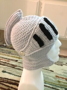 1fadc7bd Image is loading Hand-Crochet-Knight-Helmet-Hat-Beanie-Made-to-
