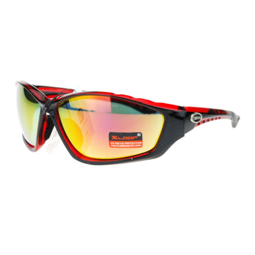 X Loop Mens Color Mirror Lens Oval Plastic Warp Sport Running Sunglasses