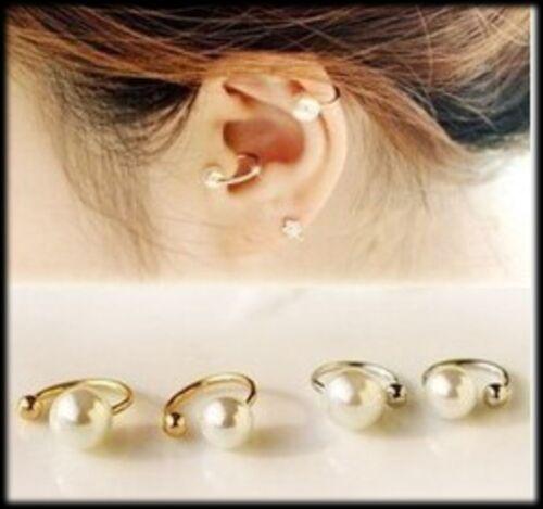 ear bone cuff pearl top earring gift bone gold clip cartilage upper wrap UK