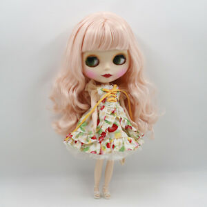 """12"""" Neo Blythe Doll from Factory Doll Matte Face Pink Curly Hair With Bang"""