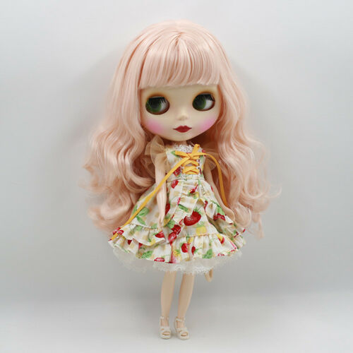 "12/"" Neo Blythe Doll from Factory Doll Matte Face Pink Curly Hair With Bang"