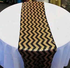 Table Runner Chevron Sequin 3 Pcs 17 X 108 Wedding Décor Black