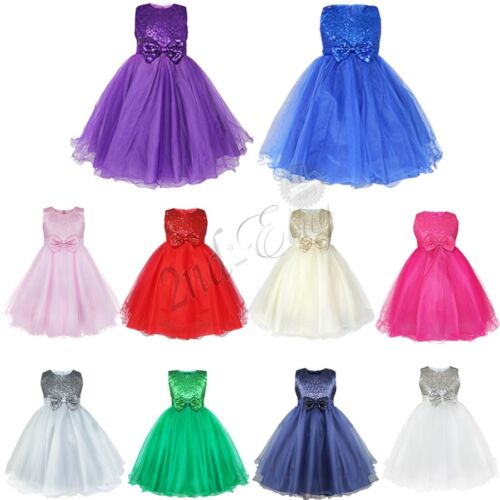 Flower Girl Princess Tulle Dress Pageant Wedding Birthday Party Formal Dresses