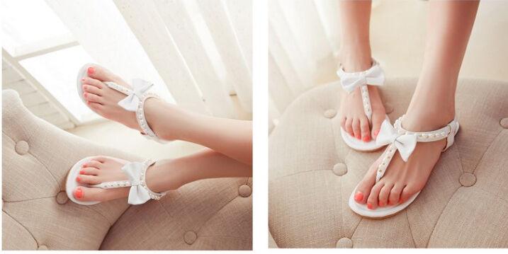 Sandales femmes tongs talons hauts bas 1 cm blanc avec perles 39