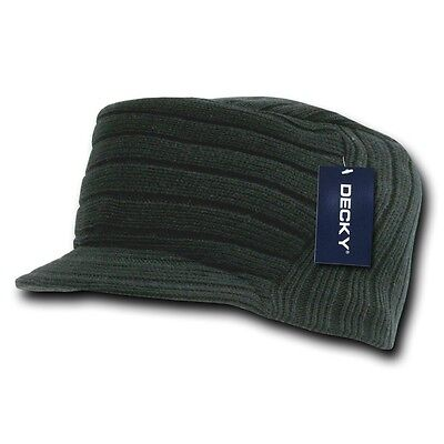 Black Knit Flat Top Visor Cap Hat Military GI Army Cadet Jeep Caps Beanie Hats