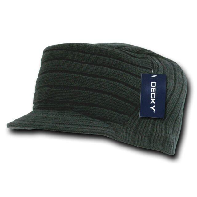 Black Knit Flat Top Visor Cap Hat Military GI Army Cadet Jeep Caps Beanie  Hats 8573d04c231