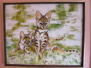 SIGNED Serval cat PORTRAIT PAINTING MYSTERY ARTIST CATS C  1970'S 31