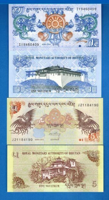 Bhutan P-27& 28 One & 5 Ngultrum Year 2006-2015 Uncirculated Banknotes Set # 5