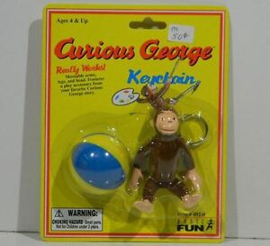 RARE-Curious-George-Keychain-WITH-Ball-ACCESSORY-Original-In-PACKAGE
