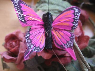 Set of 2 Small Patterned Lilac//Mauve Feather Butterfly 5.0cm wingspan