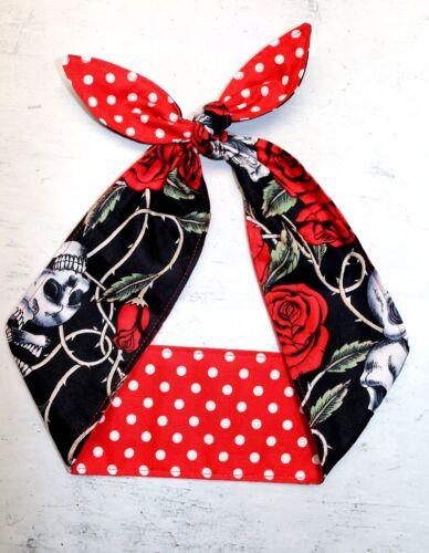 skull red white polka dots pin-up headband head scarf hair rockabilly dolly bow