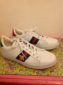 Ladies White Trainers Bee red and green