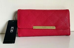 NEW-BCBG-PARIS-LIPSTICK-RED-QUILTED-CONTINENTAL-CLUTCH-WALLET-PURSE-48-SALE