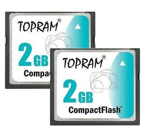 Lot-2-x-TOPRAM-2GB-CF-2G-CF-Compact-Flash-100X-memory-card-high-Speed-w-case