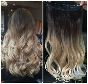 Brown Blonde Half Full Head Ombre Straight Curly Wavy Clip In Hair