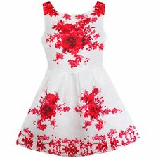 Girls Dress Red Flower Print Party Pageant Birthday Children Clothes Size 10