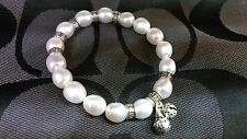 Dr.Pearl Elastic 9-10 mm  Baroque pearl bracelet with Thailand Silver Ornament