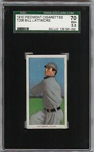 Rare 1909-11 T206 Bill Lattimore Piedmont 350 Toledo SGC 70 / 5.5 EX +