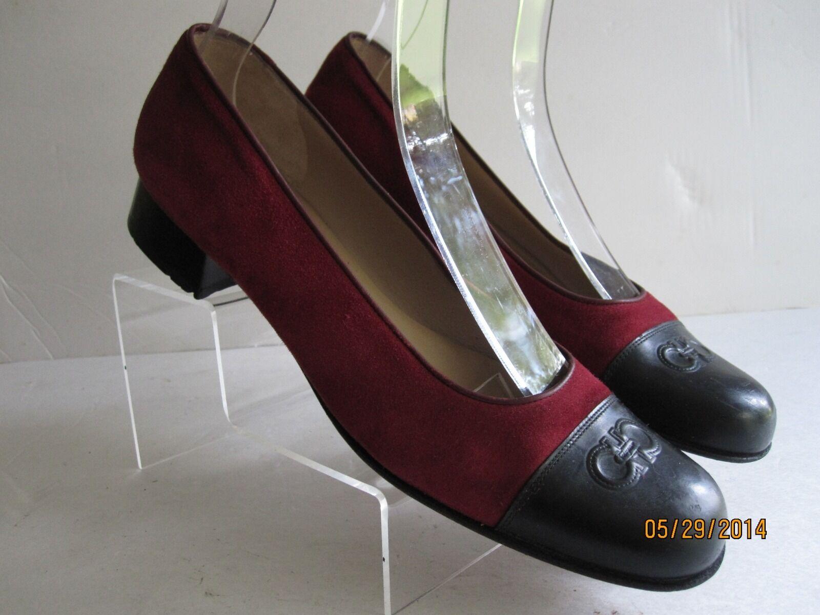 Ladies Vintage Vintage Vintage Salvatore Ferragamo Multi-color Leather W  Cap Toe Heels Sz 9, 4A 327c6c
