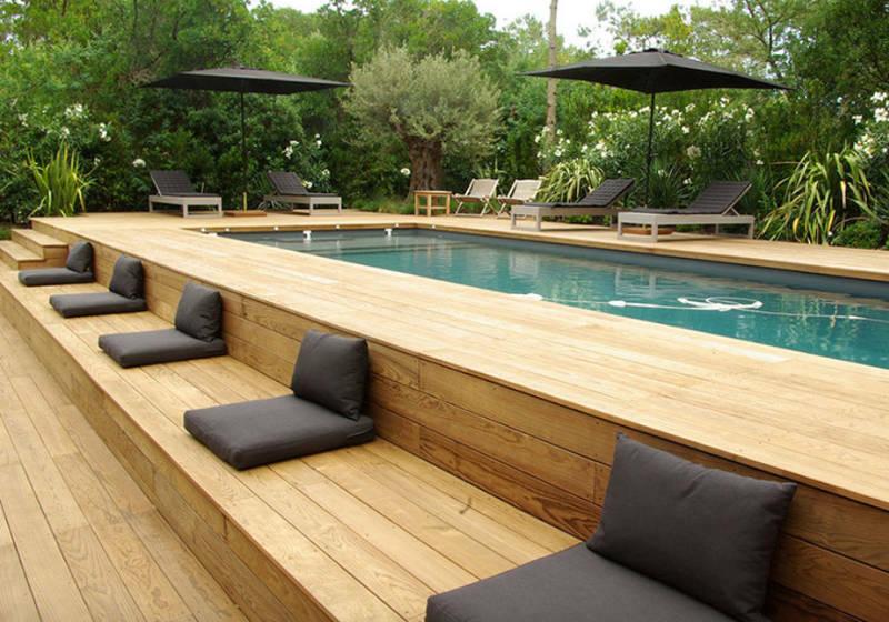 Above Ground Swimming Pool & Bespoke Decking Area Custom Design BBQ Area Seating