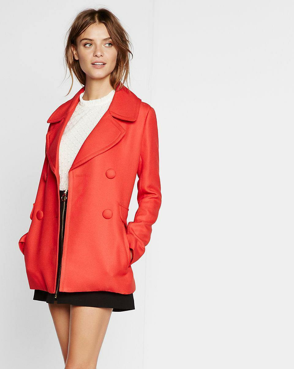 NEW EXPRESS  RED DOUBLE DREASTED TWILL PEACOAT COAT SZ S SMALL
