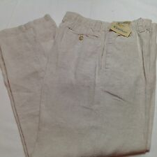 CARIBBEAN Men Linen Drawstring Pants Natural 40x32 NEW $79.50