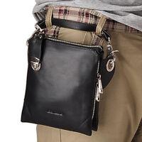 Mens Genuine Leather Fanny Waist Backpack Messenger Shoulder Handbag Tote Black