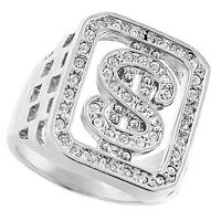 Dollar Sign Bling Silver Rhodium Plated Clear Stones Mens Ring