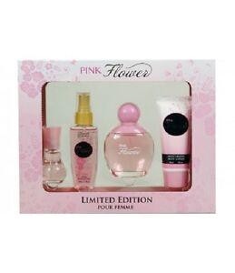 Womens perfume set pink flower set of 4 ebay image is loading women 039 s perfume set pink flower set mightylinksfo