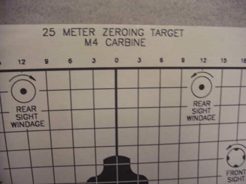 Official US DOD 25 M Zeroing 2 faces Cible Lot de 10