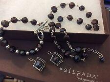 SILPADA Set Sterling Silver Necklace Bracelet Earrings Irridescent Dark Pearls